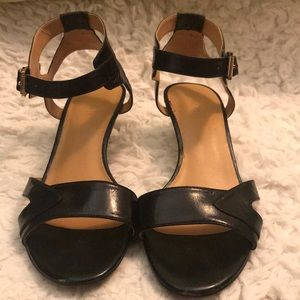 Black Leather Sandal with heel